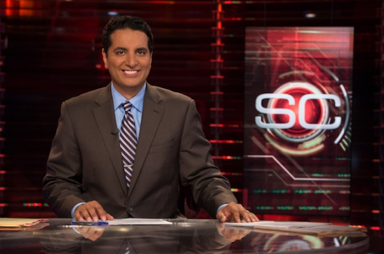 Bristol, CT - July 18, 2012 - Studio F: Kevin Negandhi on the set of SportsCenter. (Photo by Joe Faraoni / ESPN Images)